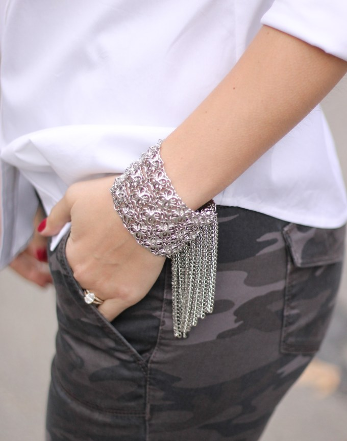 Fringe Bracelet and Grey Camo Pants