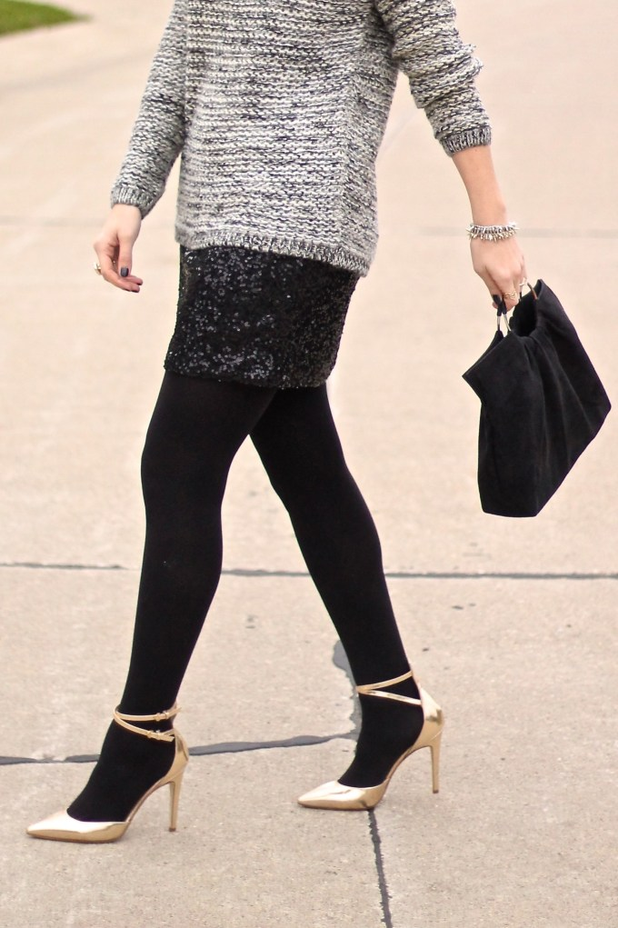 Winter COmfort: Sequin Skirts, Knit Sweater and Gold Heels