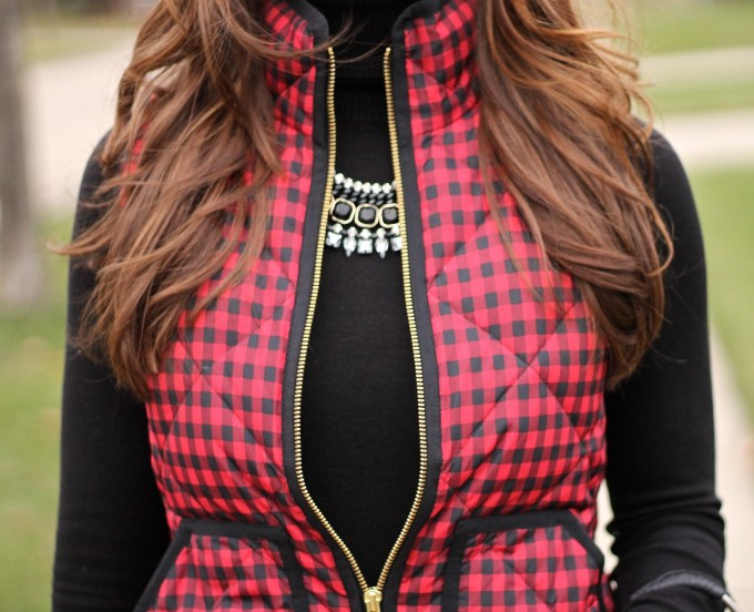 Black and Red Gingham Puffer Vest with Black Accessories