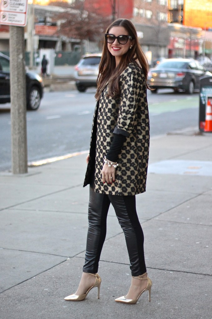 Ann Taylor floral leopard jacquard jacket in gold and black