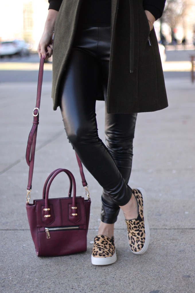 Two-Tone Olive-Black Coat with Leopard Sneakers