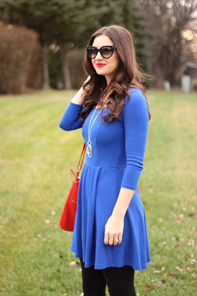 Royal Blue Fit & Flare Dress with Ruby Red Bag