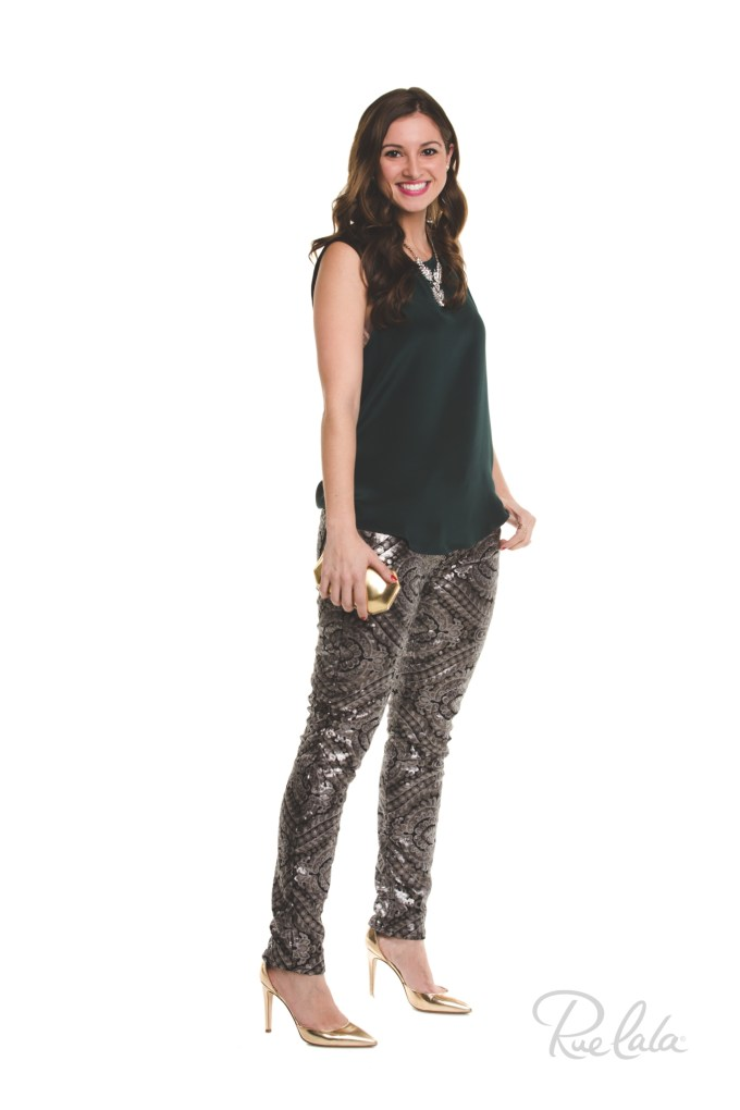 #RueHoliday- 7FAM Sequin Pants, Parker Libby Blouse
