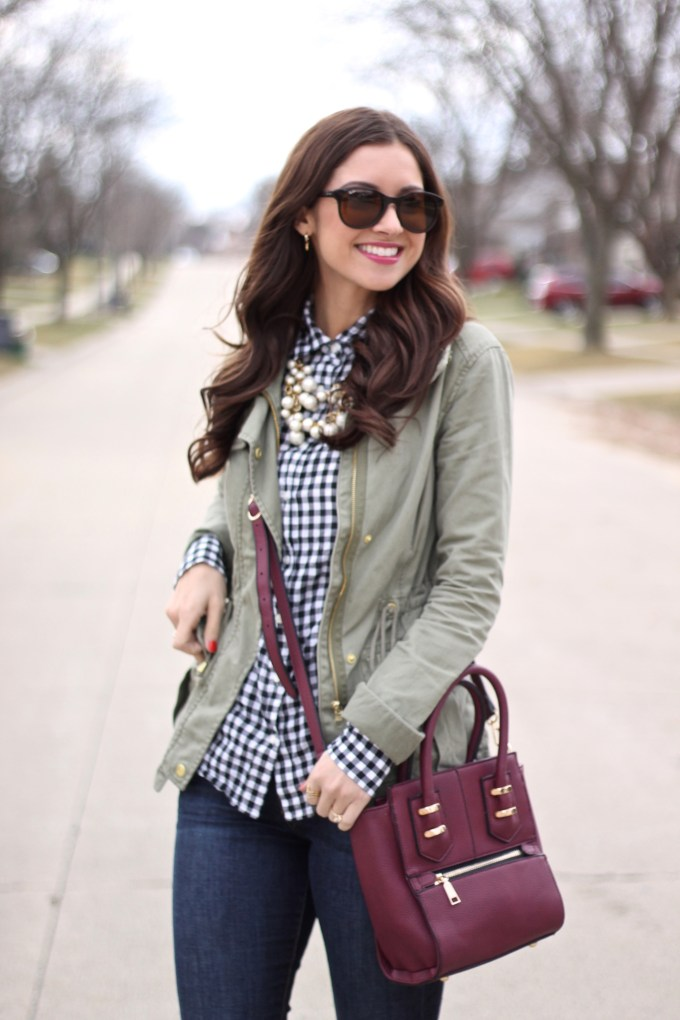 La Mariposa: Gingham, Military Green and Burgundy