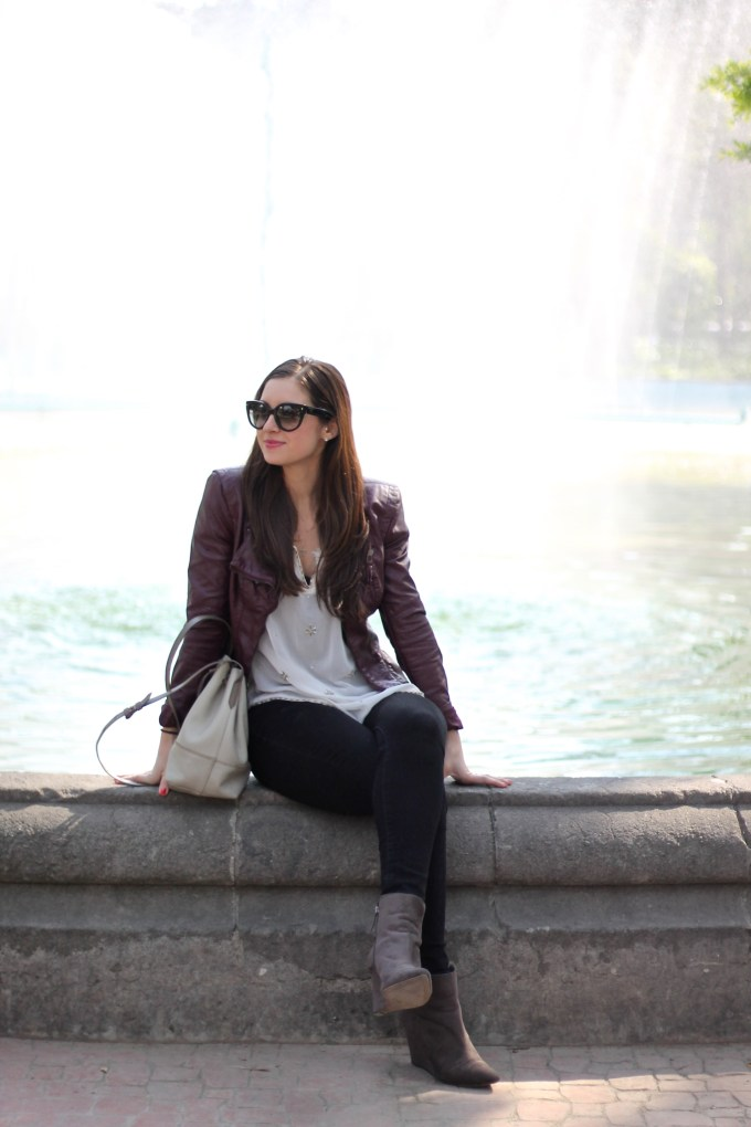 La Mariposa Travel Wear: Burgundy Leather Jacket