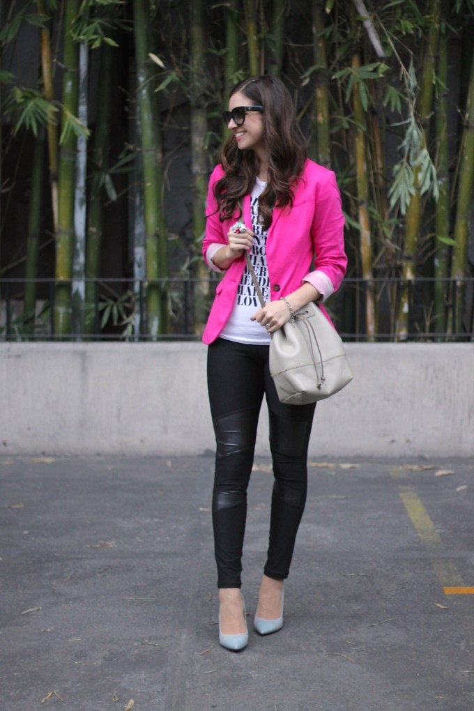 Pink Blazer with Leather Patched Pants and Graphic Tee