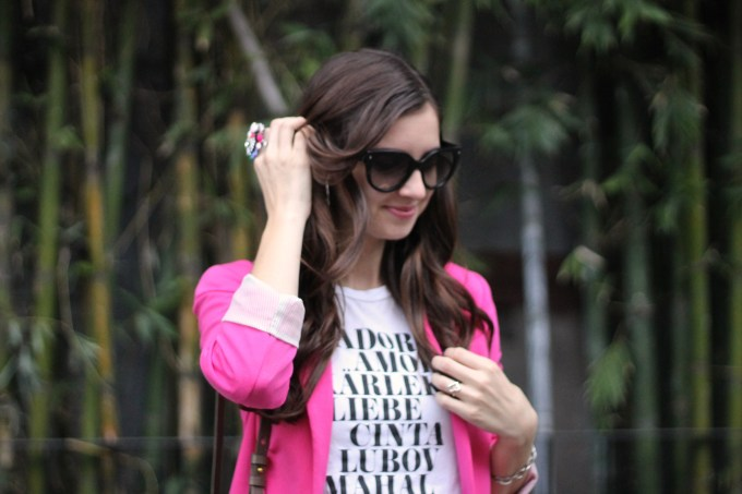 La Mariposa: Pink Blazer with Leather Patched Pants and Graphic Tee