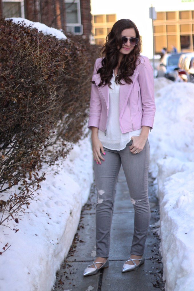 Baby Pink Leather Coat with Grey Ripped Jeans