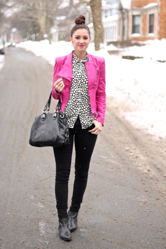 Hot Pink Leather Jacket and Heart Blouse: Valentine's Day Outfit
