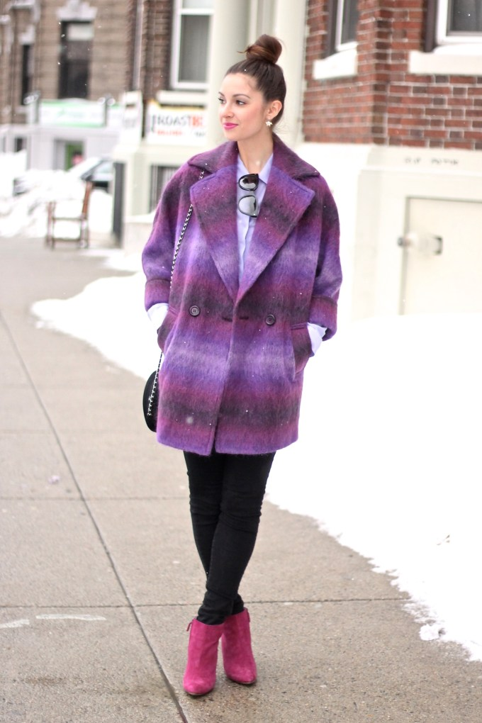 Purple Shaggy Oversize Coat with Magenta Booties