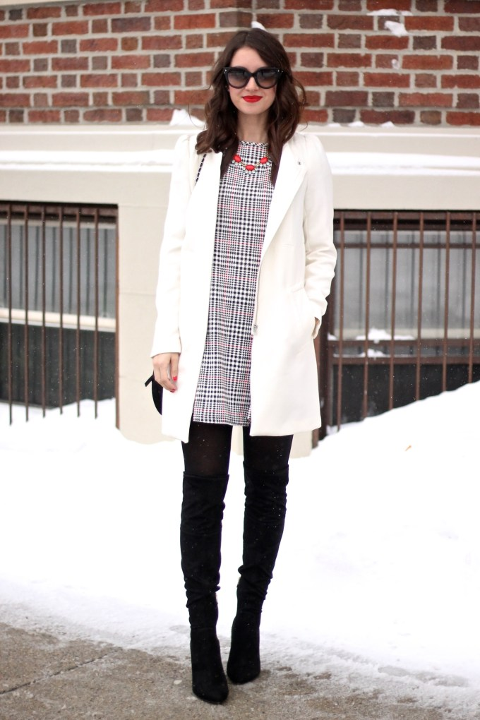 Winter White Coat and Houndstooth Shift with Black Suede OTK Boots