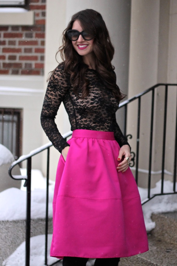 Black Lace and Pink Full Midi with OTK Boots