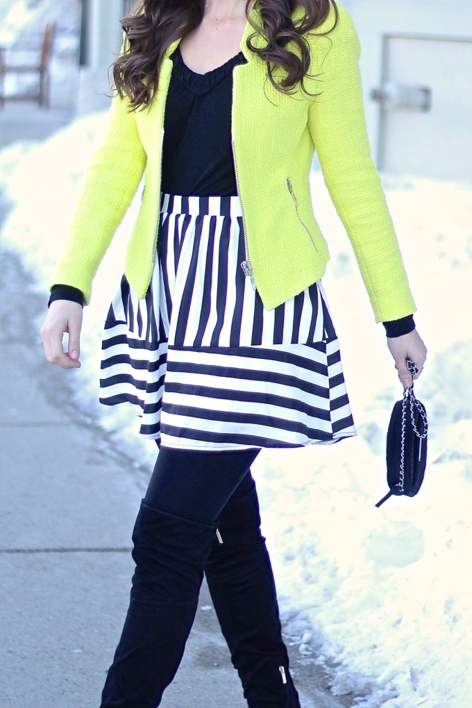 Chartreuse and Black & White Stripes