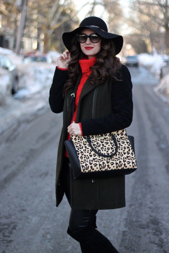 Marc New York Two-tone Olive and Black Wool Coat, Leopard Shopper Bag, Red JCrew Cambridge Turtleneck Sweater, Ivanka Trump OTK Boots, and Floppy Hat