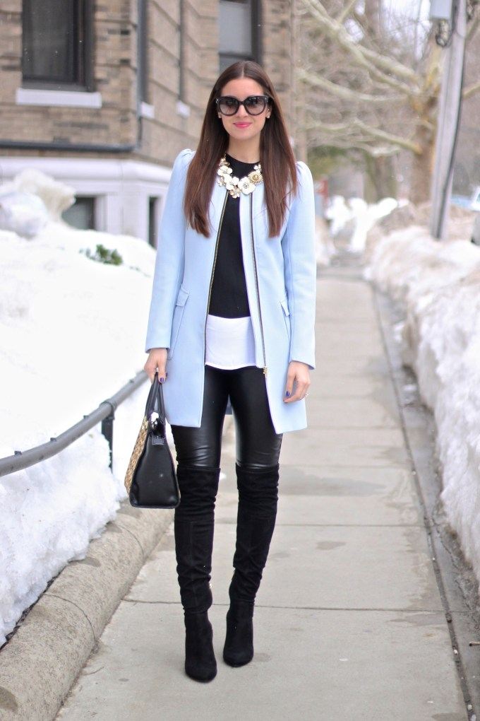 Powder Blue Coat, Leather Pants and Suede OTK Boots