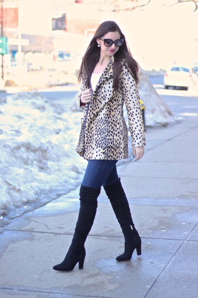 Guess Leopard Coat with Jeans and Suede OTK Boots