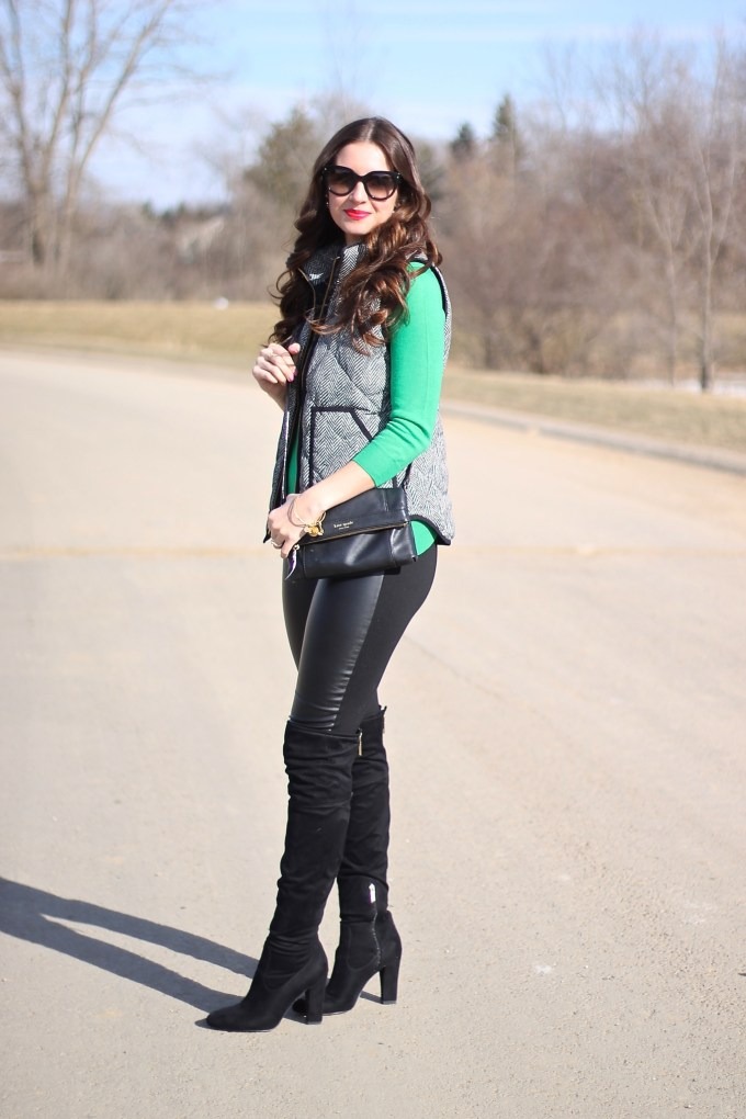 Herringbone Puffer Vest and Green Top- St. Patrick's Day Outfit