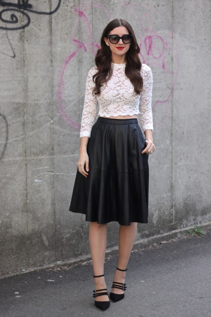 Lace Crop Top and Leather A-line Skirt