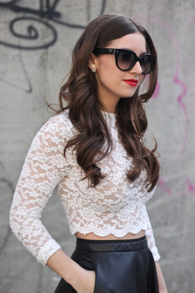 H&M Lace White Crop Top