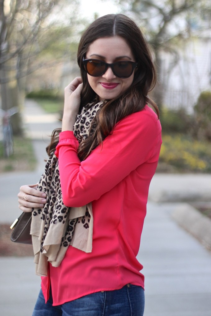 Coral blouse & 70s Flared Jeans with Leopard Scarf