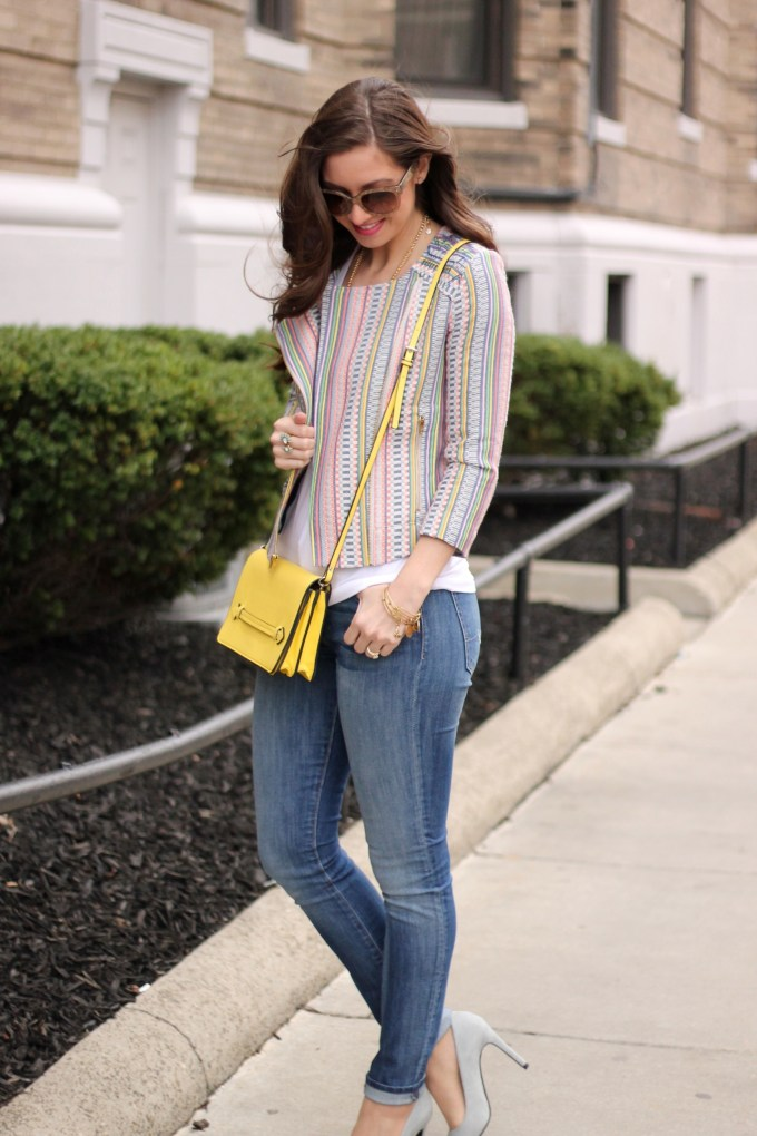 Multicolored Jacket, Gold Tassel Necklace, Yellow Zara Bag and JEans