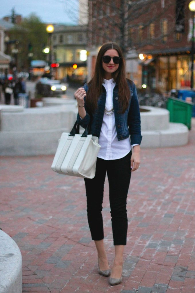 denim jacket with work wear
