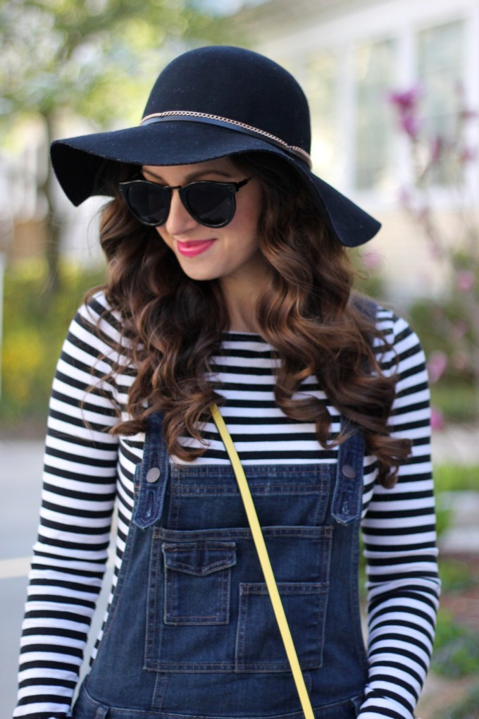 Black Floppy Hat and Overalls