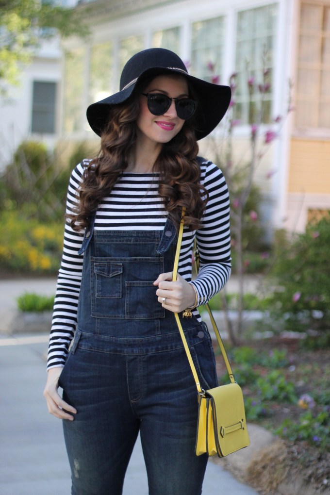 Free People Dark Wash Overalls, Floppy Hat, Striped Tee and Yellow Bag
