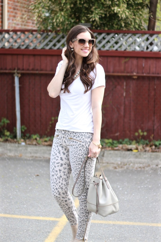Grey and Beige Leopard Jeans and White Tee