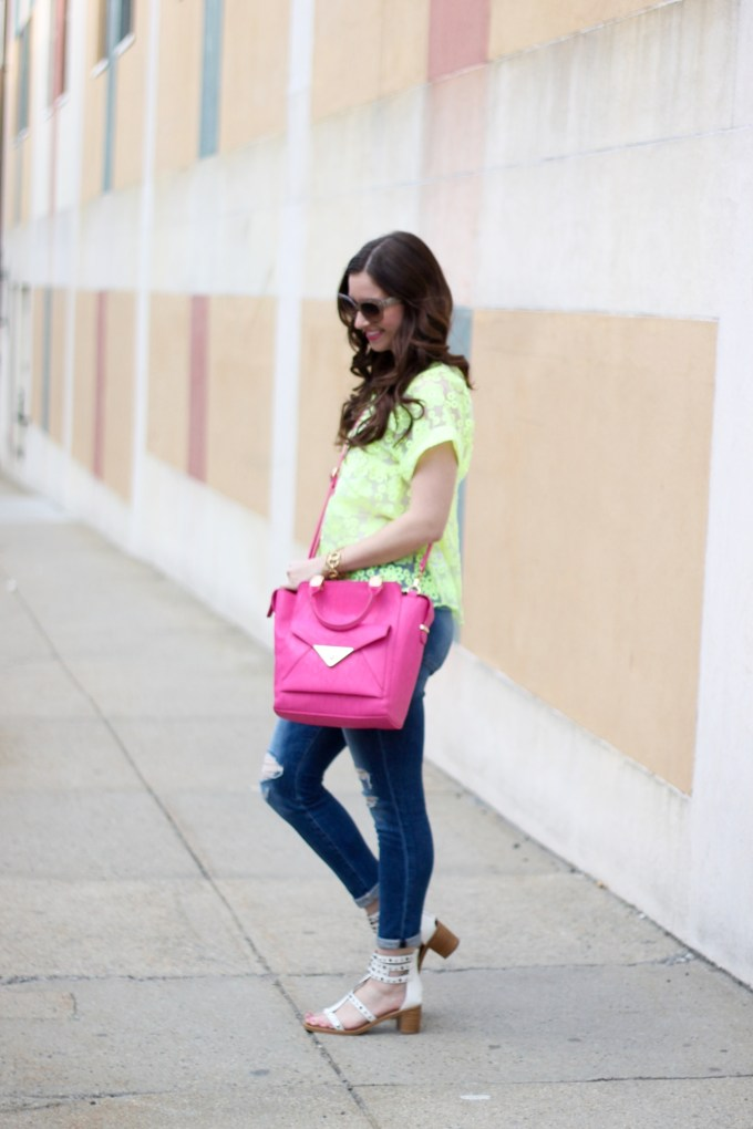 Lime Organza Lace top, Pink Crossbody Bag, Distressed Denim and Studded Stacked Heel Sandals