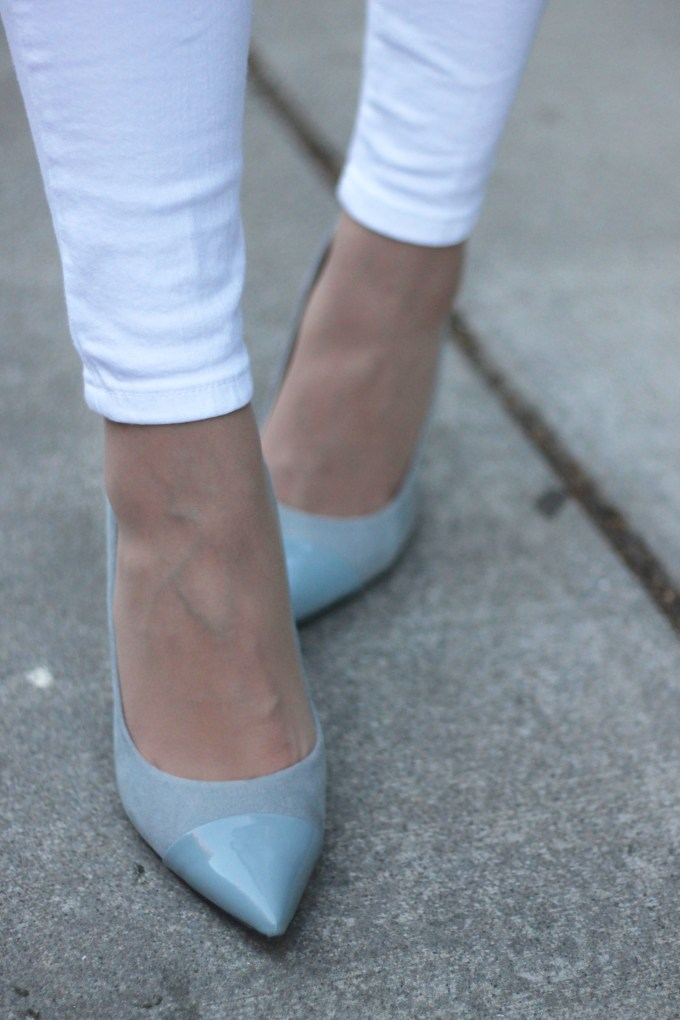 Grey suede and patent leather heels
