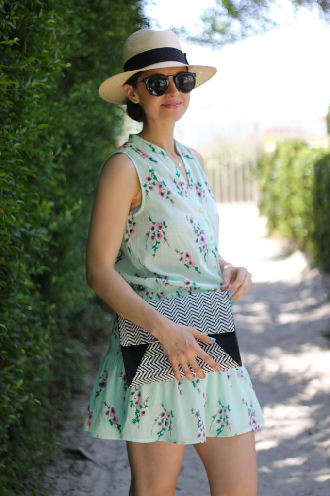 Juicy Couture Mint/Purple Floral Dropwaist Sundress