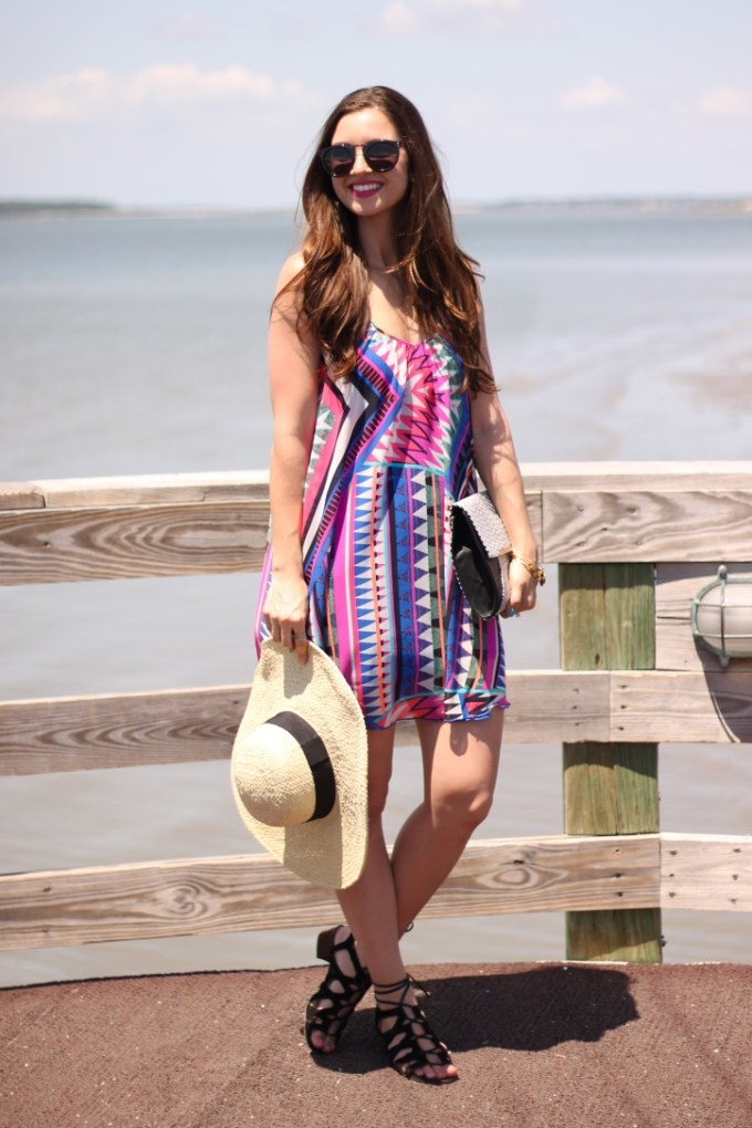 Express Pink and Blue Zigzag Dress