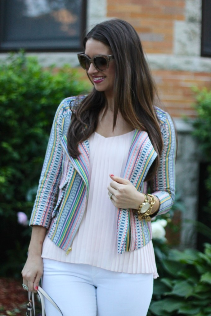 Striped Pastel Cynthia Vincent Blazer and Blush Express Blouse