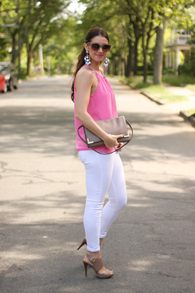 Pink Ruffled Halter with White Jeans and Taupe Neutrals
