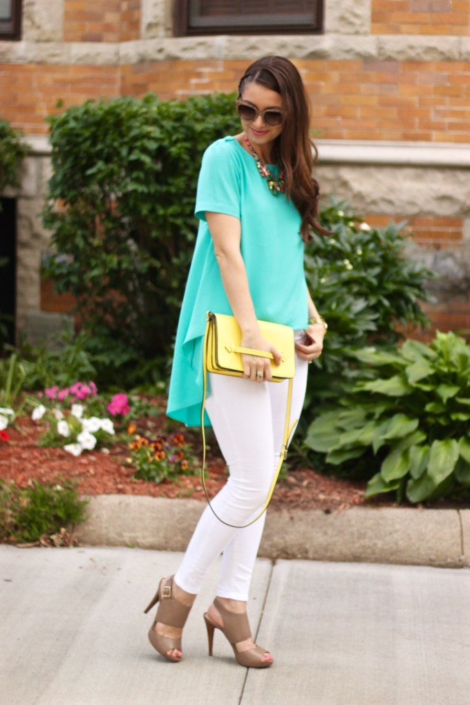 Aqua High-Low blouse with white jeans and yellow bag