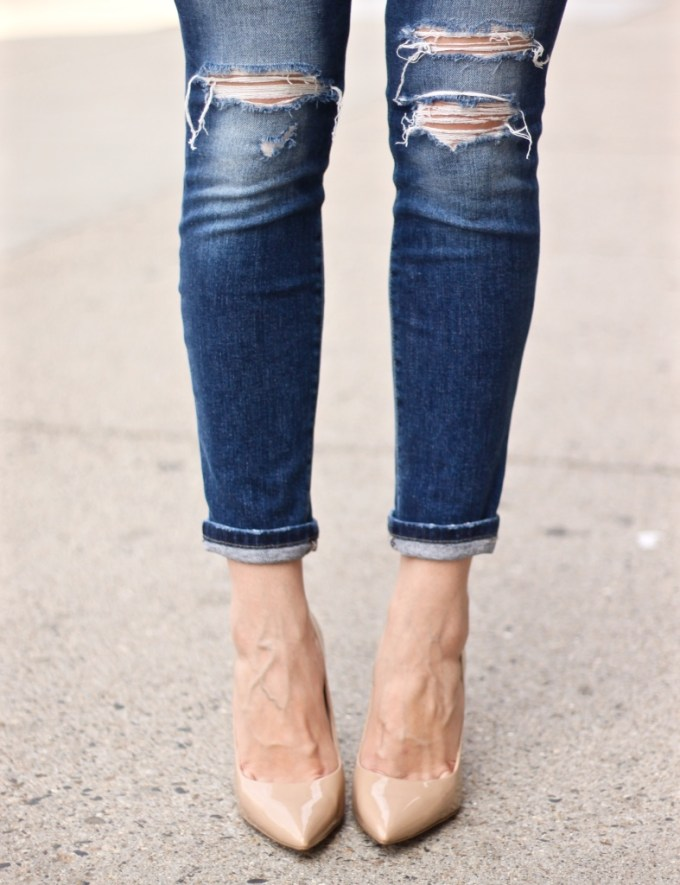 ripped jeans and nude pumps