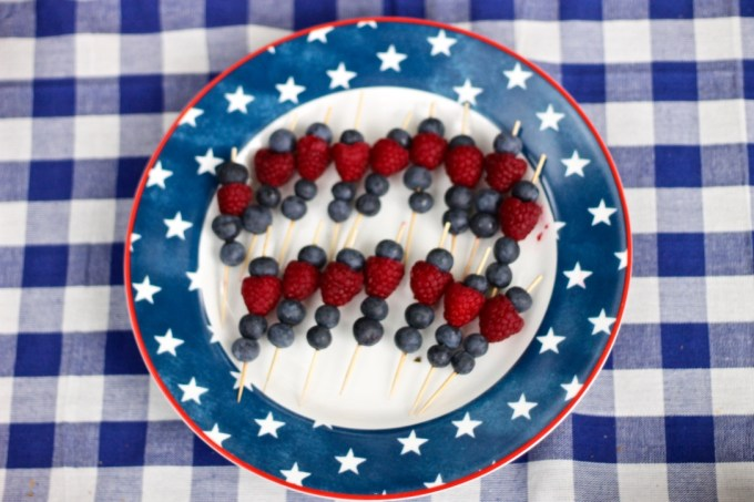 Red, white & blue fruit kebobs