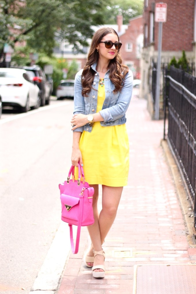 Yellow Summer Dress with Pink Accessories