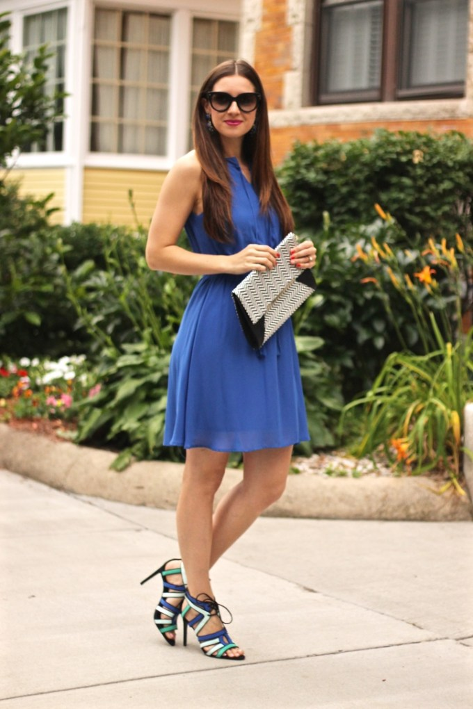 Blue Date Night Dress and Tricolored Heels