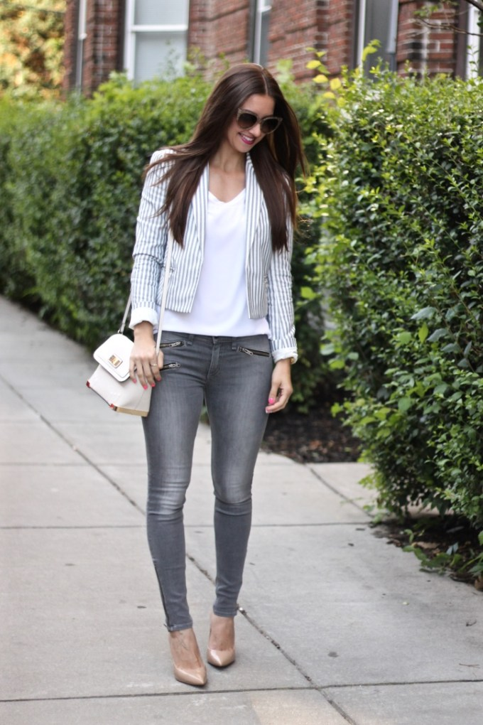Express Striped Cropped Blazer with Rag n Bone grey Jeans with Zipper Details