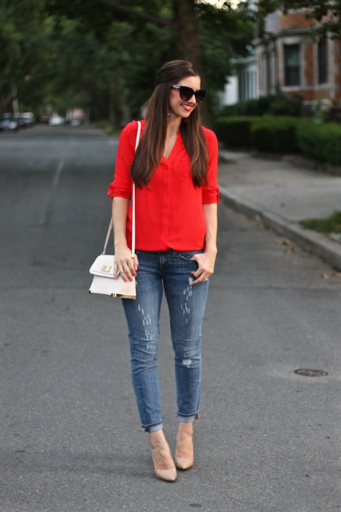 Trouve Scarlet Red Silk Blouse with J.Crew Ripped Jeans and Jessica Simpson Nude Heels