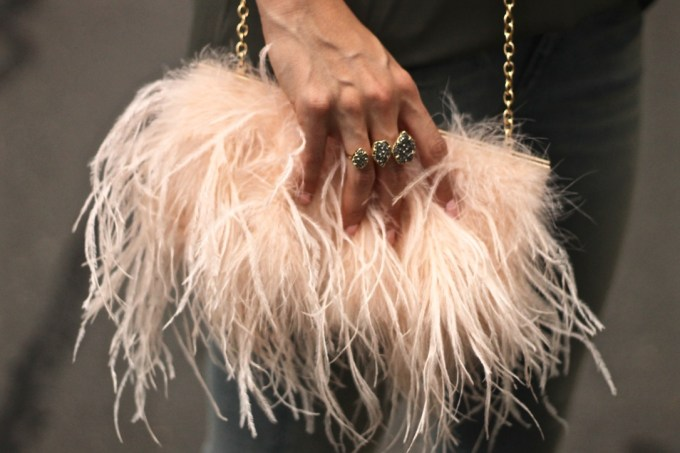 Asos Fluffy Framed Clutch in Blush