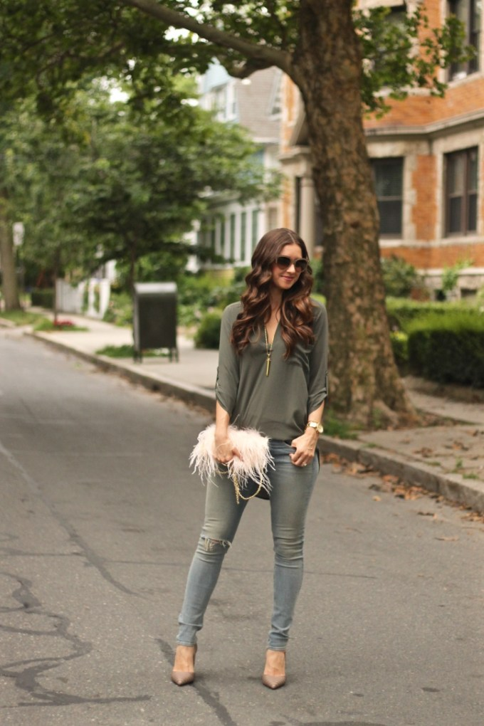Olive Roll-tab Sleeve Tunic from Nordstrom and Fluffy Feather Blush Clutch by Alsos