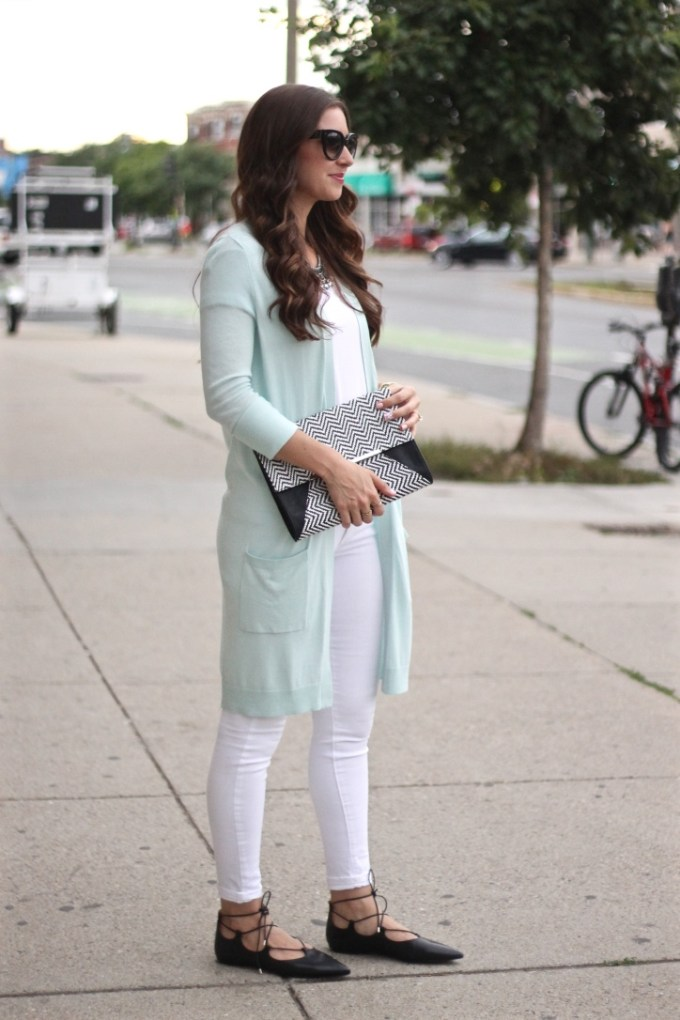 Halogen Long Open Cardigan in mint pastel blue