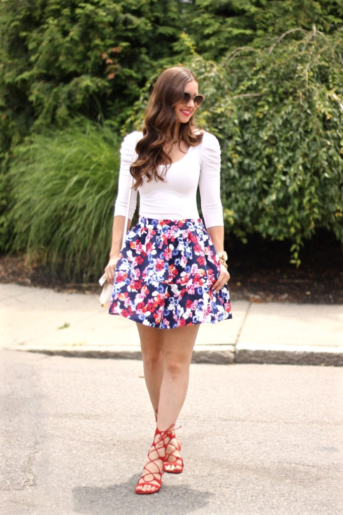 Navy, White and Red Bubble Skirt with Red Lace-up sandals