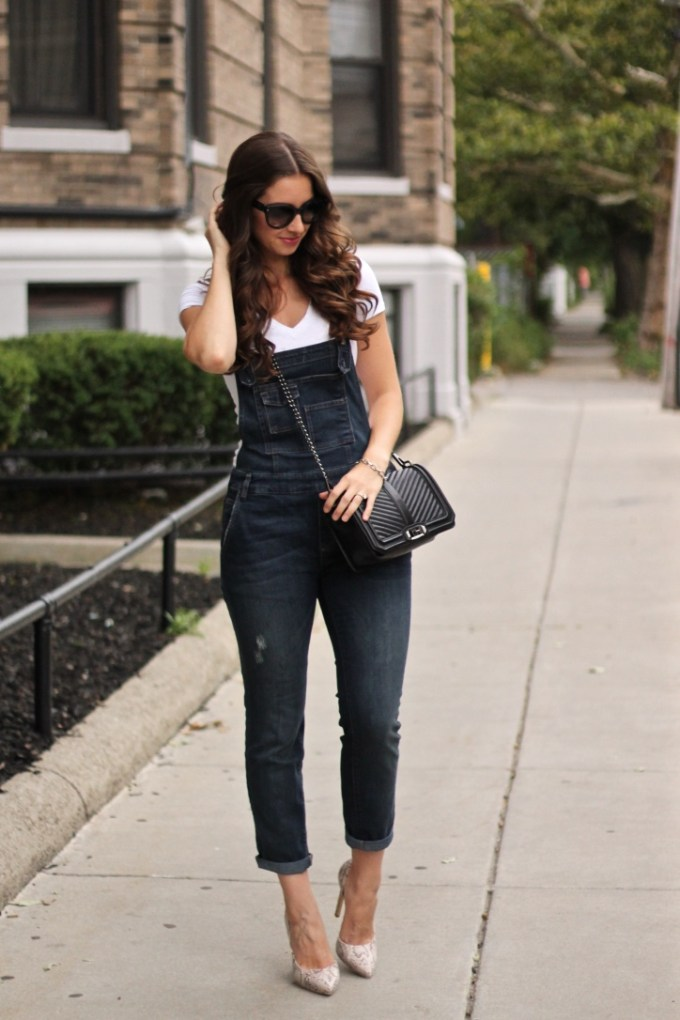 Free People Brady Washed Denim Overalls and White Tee