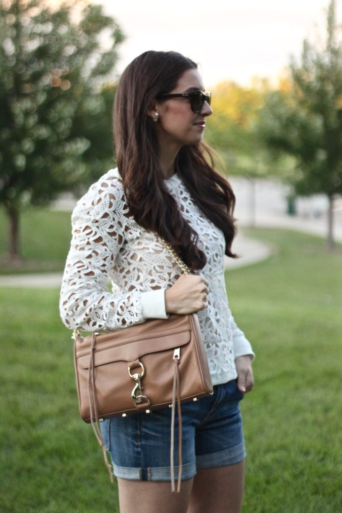 White Urban Outfitters Cutout Sweater with J.Crew Denim Roll-up Shorts  and Rebecca Minkoff Tan MAC