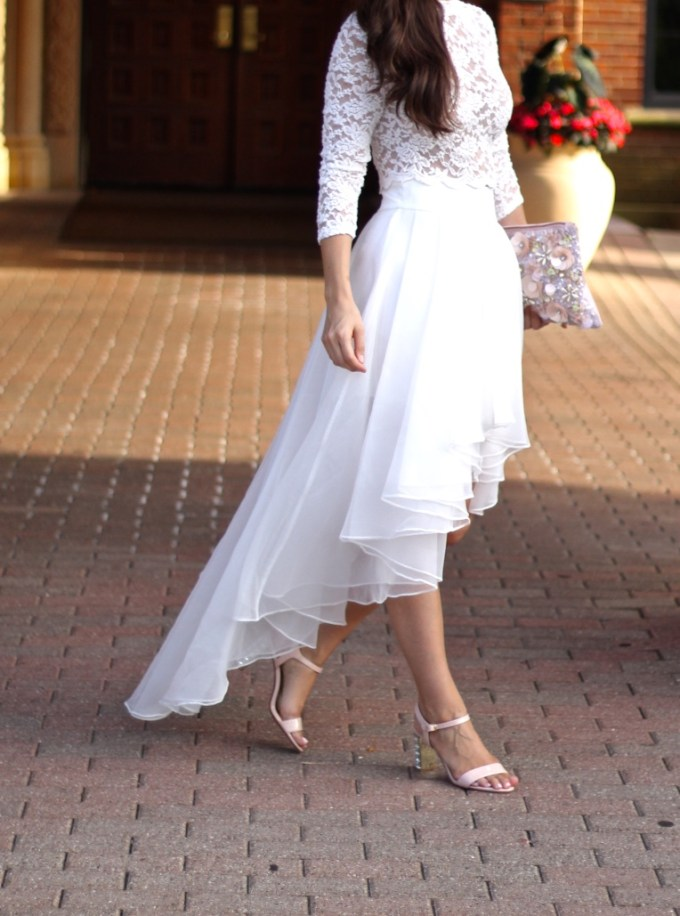 Asos White Organza Hi-Low Skirt, Lace White Crop Top, Wedding Rehearsal Dinner Outfit