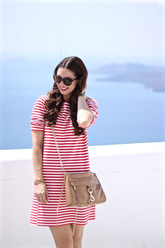 JCrew Factory Red Gondola Striped Ponte Dress with Tan Rebecca Minkoff MAC